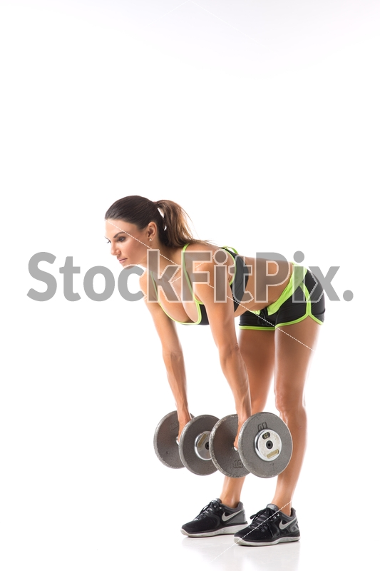 Lauren Abraham;Woman;Young;Female;Fitness;Model;Strong;Fit;Beautiful;Healthy;Exercise;Physical;Studio;White background;Two piece outfit;Butt;Sculpting;Workout;Training;Working out;Trim;Toned;Dumbbells;Straight leg;Deadlift