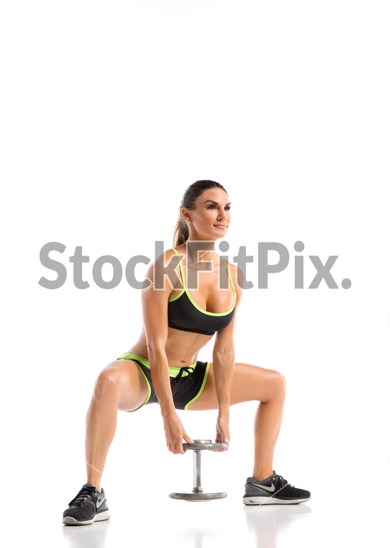 Lauren Abraham;Woman;Young;Female;Fitness;Model;Strong;Fit;Beautiful;Healthy;Exercise;Physical;Studio;White background;Two piece outfit;Butt;Sculpting;Workout;Training;Working out;Trim;Toned;Dumbbell;Squat;Single