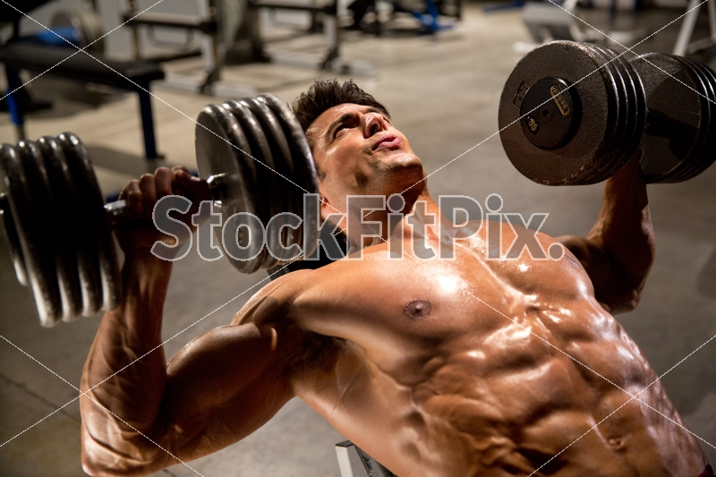 TJ Hoban;Man;Male;Brunette;Fit;Fitness;Muscle;Muscular;Handsome;Attractive;Healthy;Strong;Gym;Equipment;REd shorts;Training;Chest training;Workout;Working out;Exercise;Physical;Incline;Dumbbells;Press;Incline Dumbbell press