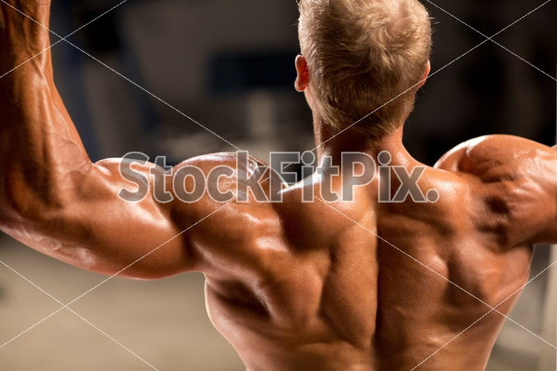 Liam Burnham;Male;Man;Blond;Fit;Fitness;Muscle;Muscular;Strong;Healthy;Working out;Workout;Deltoid training;Shoulder training;Shirtless;Red shorts;Gym;Equipment;Posing;Flexing;Arms;Shoulders;Delts;Back;Tan